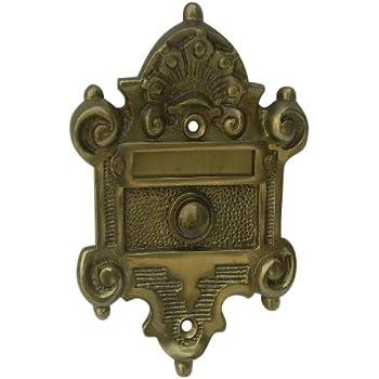 gr nderzeit jugendstil klingel messing antik mit namensschild k10 a baumarkt. Black Bedroom Furniture Sets. Home Design Ideas