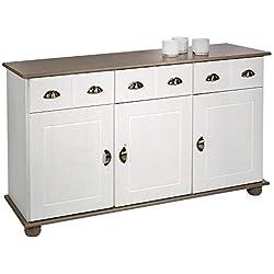 IDIMEX Buffet Colmar Commode bahut vaisselier Meuble Bas Rangement avec 3 tiroirs et 3 Portes battantes, en pin Massif lasuré Blanc et Taupe