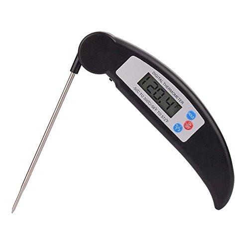 Küchenthermometer, Grill Thermometer Bratenthermometer Fleischthermometer Wasserdichte Sofortige Lesen Kochen Thermometer mit Digital LCD-Bildschirm für Küche, BBQ Schwarz von CGBOOM(Schwarz)