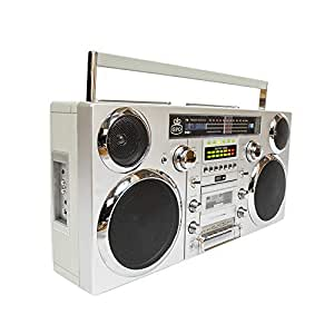 GPO Brooklyn Portable 1980s Retro Style Music System Boombox with CD, Cassette, DAB Radio & Bluetooth - Silver / Chrome