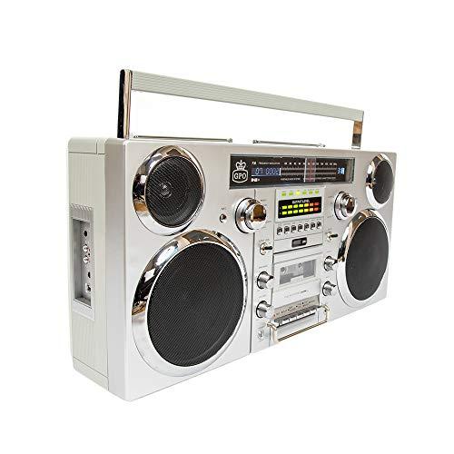 GPO BROOKLYN 80er Jahre Boombox mit Bluetooth, CD, Kassette, USB und DAB+ Radio, Silber