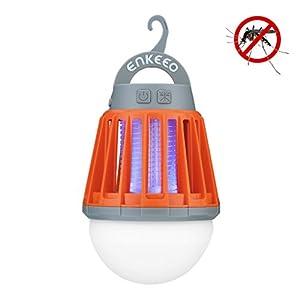 ENKEEO Lampe de Camping Anti Moustiques Lanterne Anti Moucheron Etanche avec 2000mAh Batterie Rechargeabl (Orange)