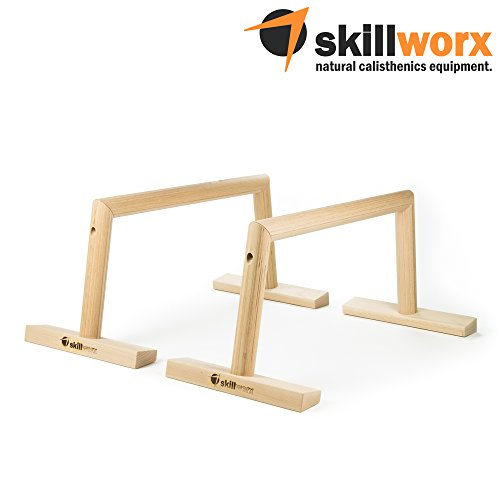 skillworx High Parallettes: Raw Edition - Calisthenics Liegestützgriffe aus Holz, made in Austria