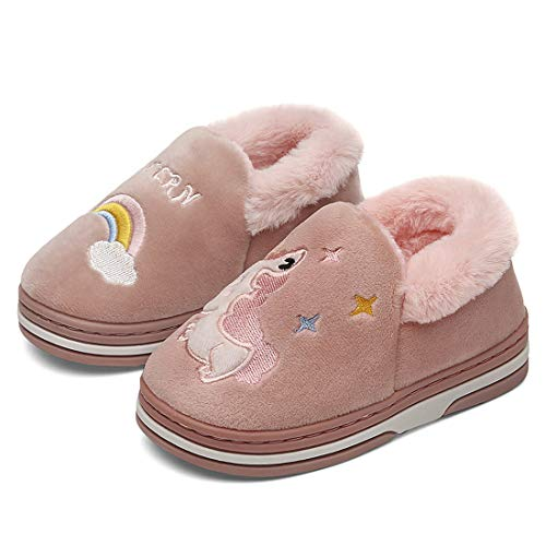 Boys Girls Warm Fluffy House Slippers Toddler Kids Fuzzy Indoor Bedroom Shoes