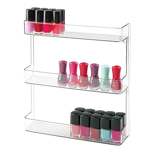 mDesign Nagellackregal als Wandregal - stilvolle Kosmetikablage mit 3 Ebenen für das Badezimmer zur Wandmontage - praktische Aufbewahrung für Nagellacke - durchsichtig -
