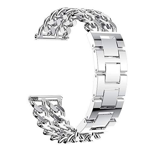 Igemy Zweireihiger Denim Kettenarmband aus Edelstahl Fit für Samsung Galaxy Watch 46mm (Silber) -