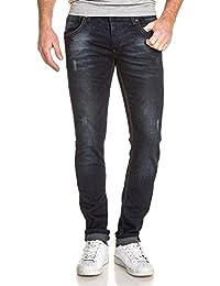 BLZ jeans - Jeans homme slim bleu foncé délavé usé