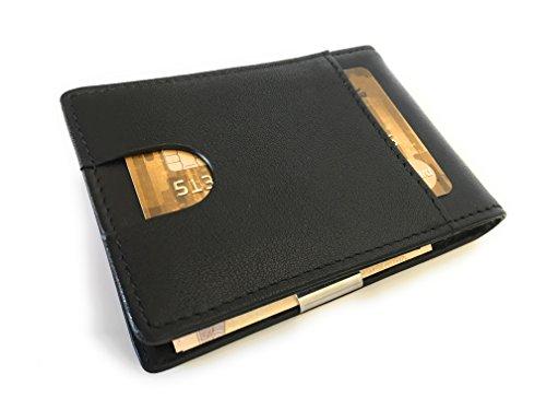 Modernes Portmonee mit GELDKLAMMER in Geschenkverpackung | RFID geschützt und extra dünn, Handarbeit aus hochwertigem Leder , Kreditkartenhalter, Ausweisetui, Kartenetui, Geschenk (schwarz) schwarz