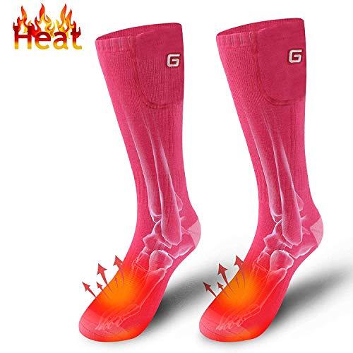 Mermaid Herren Neuheit beheizte Socken enthält 3,7 V Li-Ion-Akku, batteriebetriebene Heizung Socken, Männer und Frauen Bestickt Baumwolle Camping Fußwärmer für chronisch kalte Füße(Rosa)