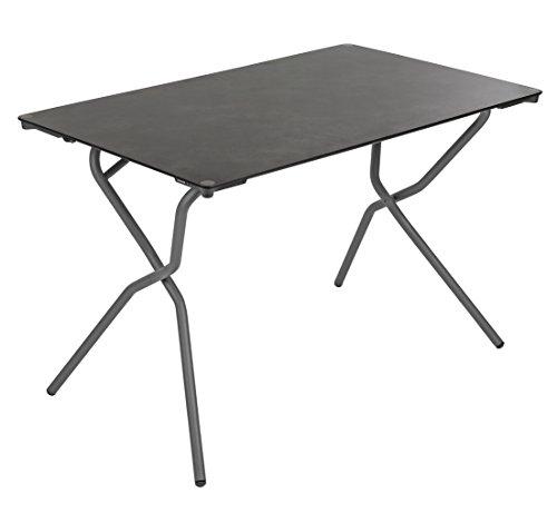 Lafuma Table de jardin rectangle, 110 x 68 cm, 4 places, Pliable, Protection intempéries, Anytime, Couleur: Volcanic / Tube Gris Basalte, LFM2715-8579