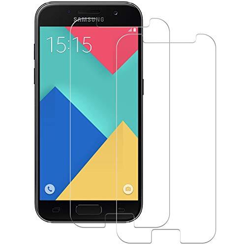 POOPHUNS Cristal Templado Samsung Galaxy A5 2017, 2-Unidades Protector de Pantalla Cristal Vidrio Templado Premium para Samsung A5 2017 9H Vidrio Real No se despega uellas Dactilares Libre