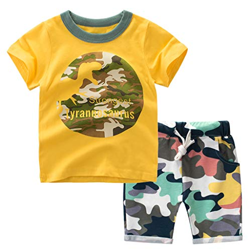 nd Jungen The Little Monster Cartoon T-Shirt und Shorts Set 18M-7Y Outfit Komfortabel Niedlich für Boys (5-6 Jahre, Gelb) ()