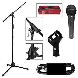 Boston Set d'installation micro comprenant pieds de micro, microphone dynamique, pince de fixation et câble micro