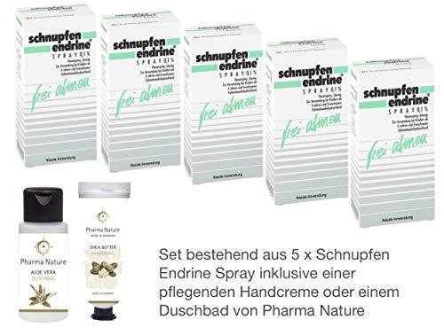 Schnupfen Endrine 0,1{b5dc263db7919f9b56c8a80b3421c8deabbd5329a299acc64f7a2142fb5d5ad4} 5er Sparpack - 5 x 10 ml Nasenspray inkl. einer pflegenden Handcreme oder Duschbad von Pharma Nature (Apotheken-Express)