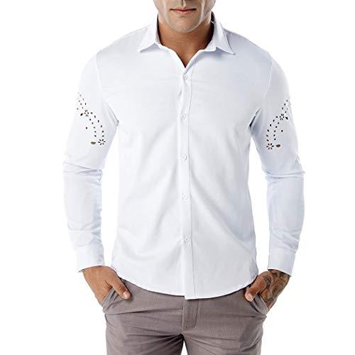 Yvelands Men Arm Hollow Shirt Hombres de Negocios de otoño Camisas Ocasionales Camisa de Manga Larga Camisa Hueca Top Blusa Business Fashion Slim Fit Cami