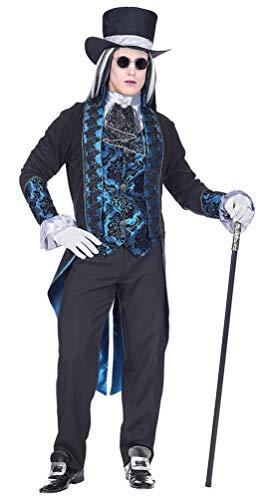 Karneval-Klamotten Vampir-Kostüm Herren-Kostüm Dracula-Kostüm Herren blau GRAF Dracula inkl. Hut Halloween Größe 52