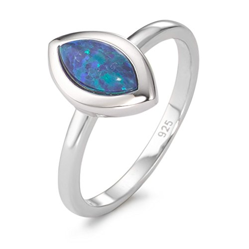 Fingerring Silber synth. Opal rhodiniert, Beschichtung: rhodiniert, Materialstärke: 1 mm, Ringbreite: 2 mm, Steinfarbe: blau, Zielgruppe: XVision Grösse 56