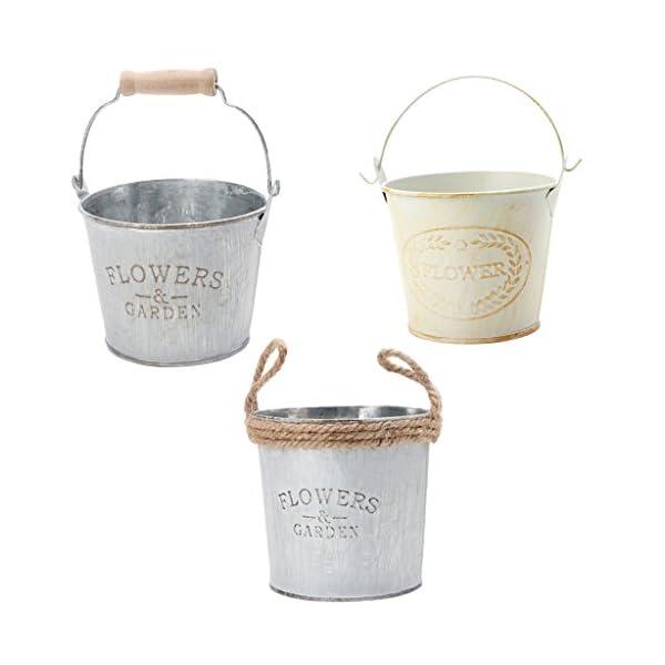 3 Pezzi Secchi Di Metallo Vintage Stile Brocca Vaso Casa Giardinaggio Arredamento