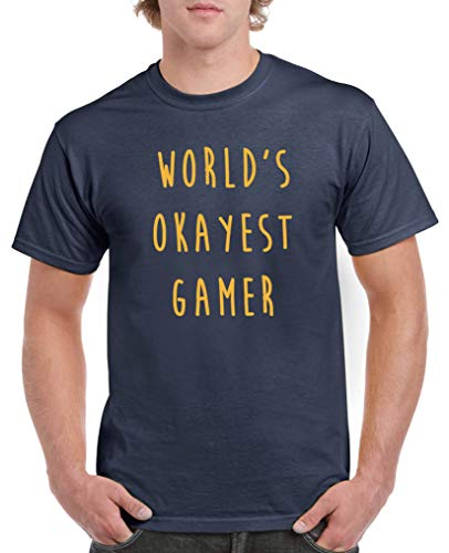 Comedy Shirts - World\'s Okayest Gamer - Herren T-Shirt - Navy/Gelb Gr. L