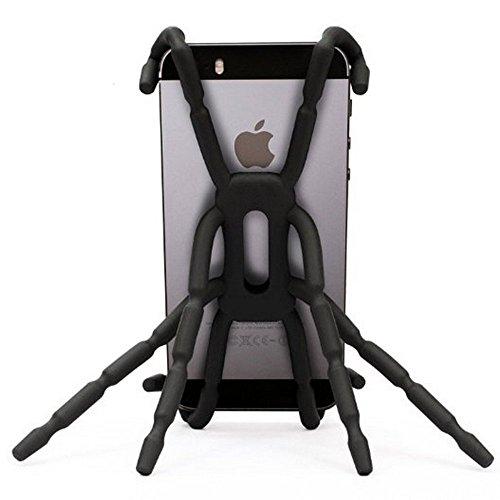 Home Furnishing Portable Spider flessibile per telefono cellulare del supporto per appendere e supporto per iPod iPhone 4/4S/5/5S/6Samsung Galaxy Andriod mp4- 2PCS (nero)