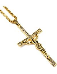 """Gudeke Los diamantes de los hombres 18k plateado oro verdadero Jesús cruz colgante collar con la cadena cubana 29.5 """""""