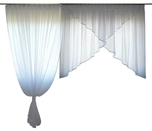 FKL Schöne Fertiggardine Fenstergardine aus Voile Gardine Balkongardine Set Smokband Schräge Fenster Weiß 250-280 cm AG38-A (Besatz Weiß)