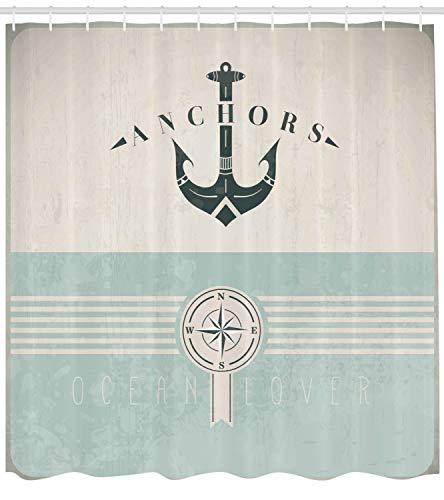ABAKUHAUS Nautisch Duschvorhang, Vintage Marine Anker, mit 12 Ringe Set Wasserdicht Stielvoll Modern Farbfest und Schimmel Resistent, 175x240 cm, Seafoam Beige Schwarz