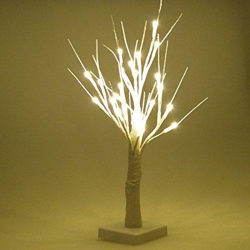 Albero Decorativo Luminoso Alto 45cm Per Interni Con 24 LED Ecologico a Batteria Bianco