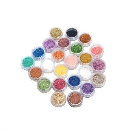 KurtzyTM 24 Piece Fine Acrylic Metallic Glitter Powder Pots For Nail Art and Crafts Decoration