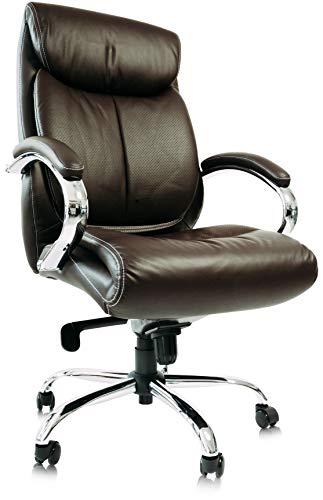 KingChairs Chefsessel Kings - Braun Chrome Echtes Leder - Bürostuhl Schreibtischstuhl Drehstuhl Sessel Stuhl