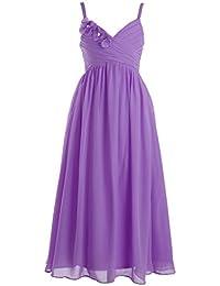 Fashion Plaza Mädchens Elegant schmalen Trägern A Line Chiffon Blumenmädchen Kleid K0095