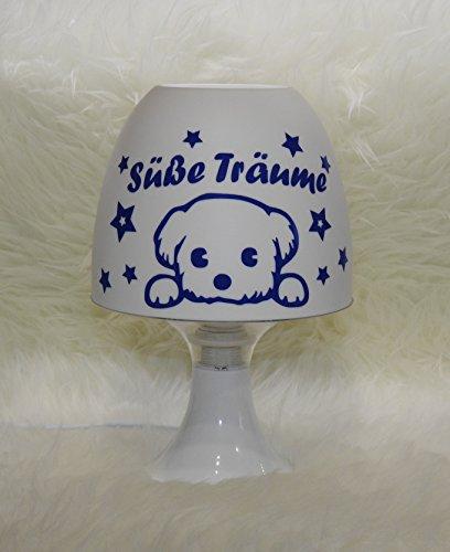 Tischleuchte Kinderlampe - Süße Träume - Hund - mit Wunschname blau