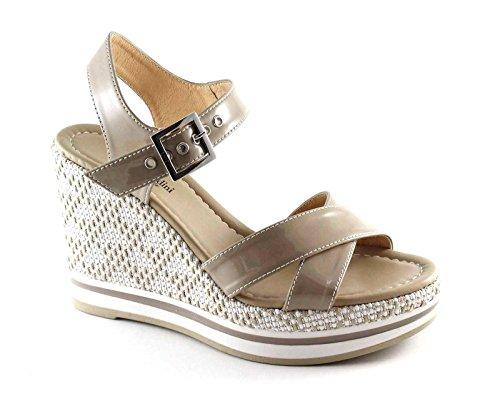 NERO GIARDINI 17700 sabbia scarpe donna sandali pelle zeppa fibbia Beige