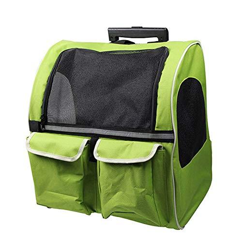 WLDOCA Haustierbeutel Großer Tierwagen Wagen für Hunde Kinderwagen Luxusrucksack für Kinderwagen (Haustiere bis 20 kg) Grün Tragbar