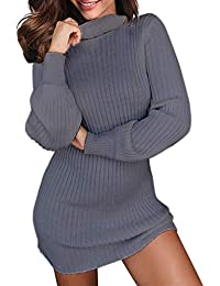 Auxo Femme Robe Pull Sexy Pull à Col Roulé Manches Longues Pulls Épais Casual Robe Automne Hiver Fille Pull-Over C-Gris XXL