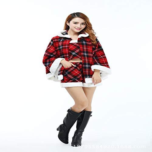 Kostüm Roten Großen Ball - CVCCV Karierter Mantel großer Schal Weihnachtskostüm Ball Event Performance Kostüm Weihnachtskostüm Polyester Stoff Geeignet für Frauen (rot)