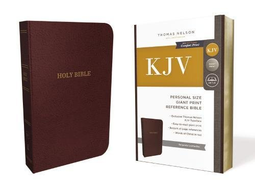 KJV, Reference Bible, Personal Size Giant Print, Leather-Look, Burgundy, Red Letter Edition