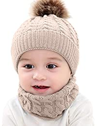 1d5a60bd235 2PCS Toddler Baby Knit Hat Scarf Winter Warm Beanie Cap with Circle Loop  Scarf Neckwarmer