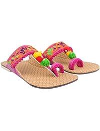 9b92fcb22 Rajasthani-Fashion Party Office Ethnic Blue Kolhapuri Women Girl s Chappal  Sandals