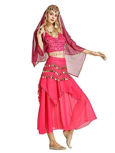 Zengbang Damen Bauchtanz Performance Kostüm Ärmellos Leibchen Top Maxirock Halloween Tanz Kostüm Rose(7PC)