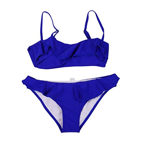 Amlaiworld Damen bunt rüschen Band badeanzüge Niedlich Sport BH Tankini Sport elegant gepolstert bademode Mode Strand Push up Bikini Set für mädchen (XL, Blau) - Band Hipster Bikini Bottoms