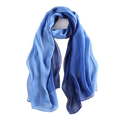 Foulard/sciarpa 100% seta per donna colore sfumato, scialle di eleganti ed moda 70,8