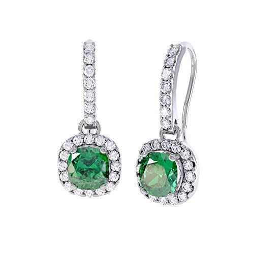 Principessa 2 ct con smeraldi e diamanti a pavé, motivo Halo, con orecchini a goccia in argento, colore: bianco e oro