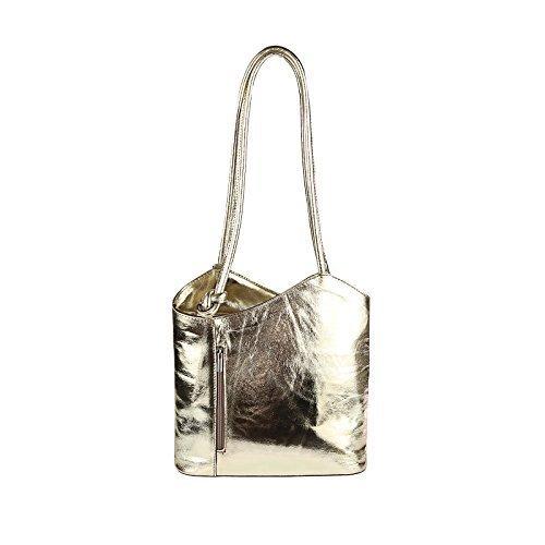 OBC Made in Italy Ledertasche Damentasche 2in1 Handtasche als Rucksack oder Umhängetasche/Schultertasche Tablet/Ipad mini bis ca. 10-12 Zoll 27x29x8 cm (BxHxT) (Dunkelblau (Lackleder)) Gold