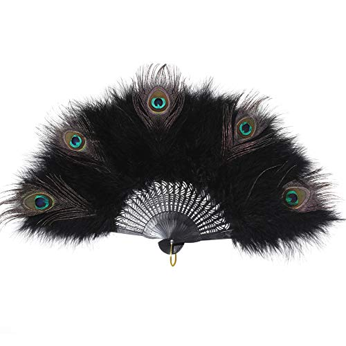 ArtiDeco Damen Fächer Marabou Feder 1920s Vintage Stil Retro Handfächer Damen Gatsby Kostüm Flapper Zubehör (Schwarzer Griff - Schwarz Pfau Feder)