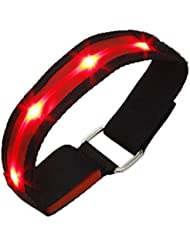 TOOGOO(R)High Visibility Running Cycling Adjustable Reflective LED Flashing Fabric Armband Red