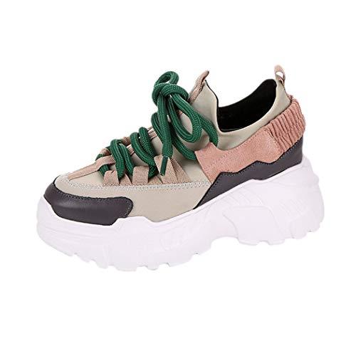 JUTOO Frauen-beiläufige Plattform-Sport-Zunahme-hohe Schuhe runder Kopf Lace-UP Flache -