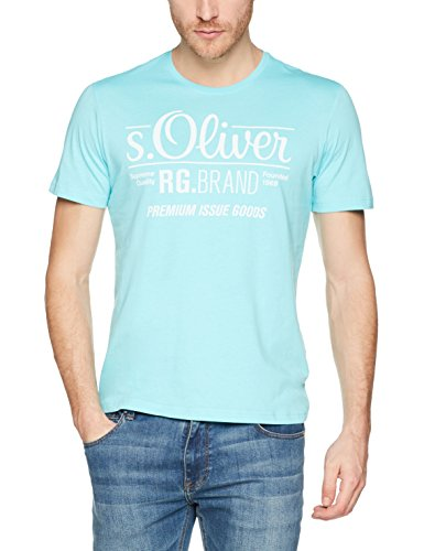 s.Oliver Herren T-Shirt 03 899 32 4501, Türkis (Pool Water 6141), Small