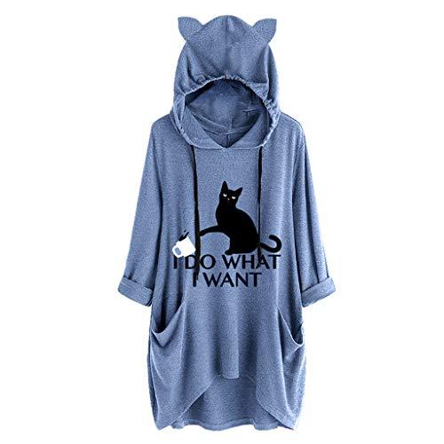 LSAltd Frauen Arbeiten lustige Katzen-Druck-Katzen-Ohr-mit Kapuze unregelmäßiges Sweatshirt-beiläufige Lange Hülsentasche Plus Größen-Pullover um - Elektro-kamin 56