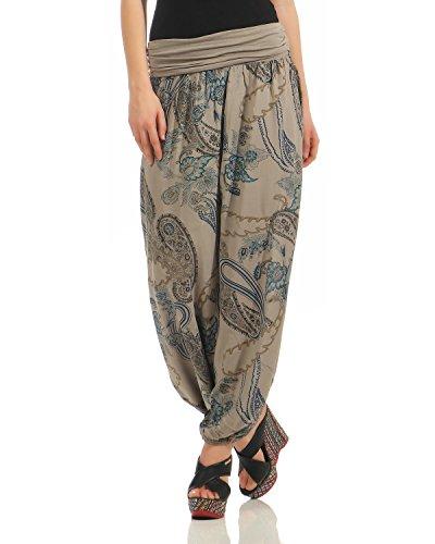 ZARMEXX Damen Pumphose Pluderhose Harem-Stil Sommerhose Yoga Pants Aladin Freizeithose One Size